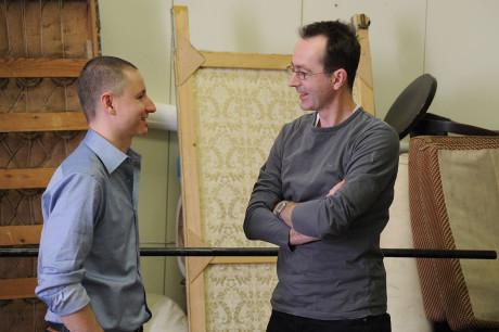 Martin Glaser s Petrem Zelenkou během příprav inscenace Zelenkovy hry Očištění v únoru 2010. FOTO archiv JD