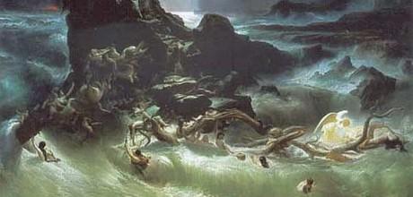 """Hospodin lituje, že stvořil člověka, trápil se """"ve svém srdci"""" nad """"nepodařeným experimentem"""" a rozhodl se lidstvo vyhladit spolu se vším živým. Utopit. Repro z knihy Haralda Haarmana Historie potopy světa (Paseka 2010)"""