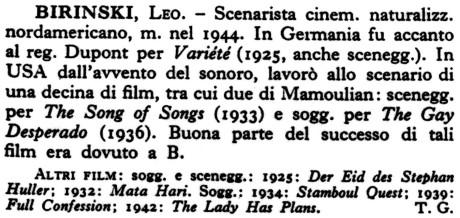 Enciclopedia dello spettacolo, Díl druhý (Bas – Cap); Casa editrice Le Maschere, Roma, 1954; str. 533)