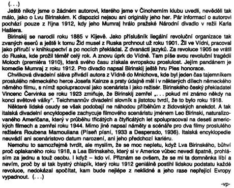 Procházka Vladimír: stať v programu k inscenaci Mumraj; Činoherní klub, Praha, 1991; str. 2 (kráceno DH)