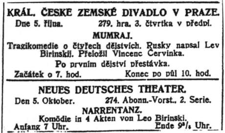 Program divadel; in: Pražské noviny, 233. ročník, č. 273 [5. říjen 1912], Praha; str. 7.