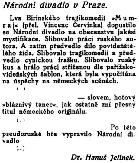 Jelínek Hanuš: Národní divadlo v Praze; in: Divadlo, revue pro otázky divadelní, Ročník XI. [1912 – 1913], č. 1 [15. říjen 1912], Bohuslav Kavka, Praha – II.; str. 31.