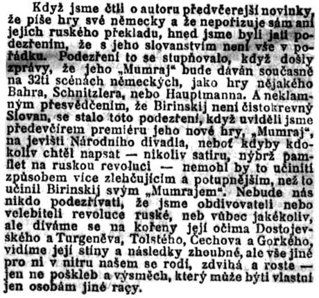Š.: Divadlo a hudba.; in: Národní politika, 30. ročník, č. 273 [3. říjen 1912], Praha; str. 7.
