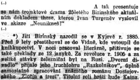 """Penížek Josef: Dramatické umění. """"Moloch"""".; in: Národní listy, 50. ročník, č. 25 [25. leden 1910], Praha; str. 2."""