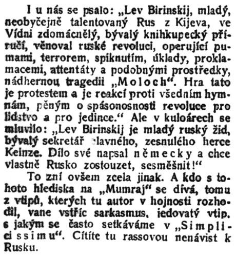 """-ež-: Divadlo a hudba. """"Mumraj"""".; in: Čech, 37. ročník, č. 271 [3. říjen 1912], Praha; str. 5."""