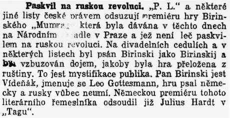 Pakvil na ruskou revoluci.; in: Dělnické listy, 5. říjen 1912, Wien..