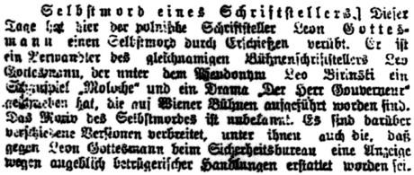 Selbstmord eines Schriftstellers; in: Neue freie Presse, č. 19959 [21. březen 1920], Wien.