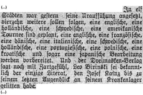 """W: """"Narrentanz.""""; in: Bohemia, 85. ročník, č. 269 [29. září 1912], Praha; str. 12."""