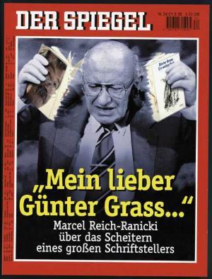 Na obálce časopisu Der Spiegel č.34/1995, jak trhá knihu Güntera Grasse. Repro archiv