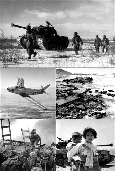 Montage of images from the Korean War. Clockwise from top: U.S. Marines retreating during the Battle of the Chosin Resevoir, U.N. landing at Incheon, Korean refugees in front of an American M-26 tank, U.S. Marines, led by First Lieutenant Baldomero Lopez, landing at Incheon, and an American F-86 Sabre fighter jet. Between circa 1950 and circa 1953. FOTO archiv US Governement