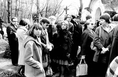 Na pohřbu filosofa Jana Patočky (březen 1977). FOTO archiv Jany Patočkové