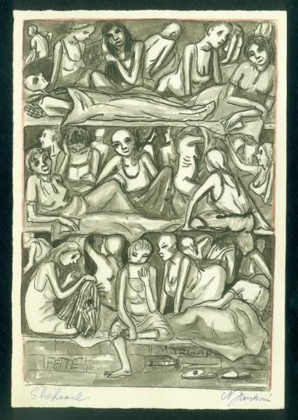 Kresba Niny Jirsíkové s názvem Šláfsaal, zachycující život v koncentračním táboře Ravensbrück. Repro archiv Národního muzea