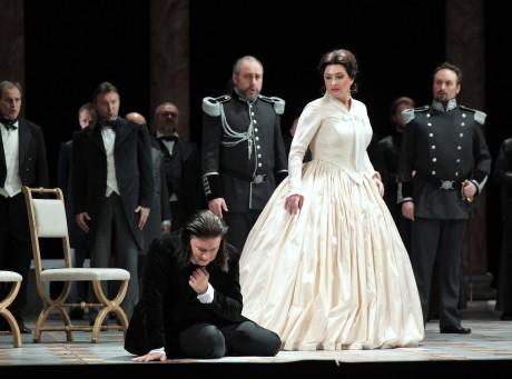 Daniel Frank (Tannhäuser), Jiří Sulženko (Hermann), Andrea Kohútková (Alžběta), Martin Šrejma (Walther). Snímek Ilona Sochorová