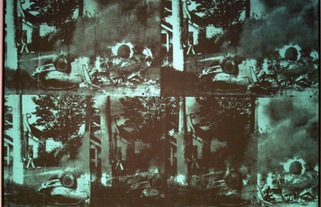 Andy Warhol: Green Car Crash (olej na plátně, 1963). Repro archiv