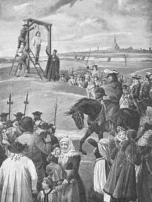 """28. listopadu 1695 byl na plzeňském popravišti oběšen vůdce Chodů Jan Sladký Kozina. Toto místo """"hanby"""", jež bývalo výraznou dominantou města, ale také symbolem hrdelní pravomoci královského a krajského města, leží dnes zapomenuto na území Plzeňského Prazdroje a nedávno bylo přesněji lokalizováno do míst přibližně 110 metrů severně od vodárenské věže. Kozinovy ostatky na šibenici prokazatelně visely ještě v listopadu 1696. Kresba z roku 1901 archiv"""