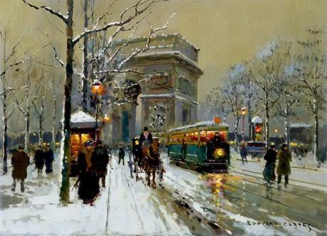 Arc de Triomphe par temps de neige par Edouard Léon Cortès. Repro archiv