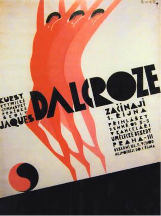 Dobový plakát kurzu Pražské školy Jaques-Dalcroze