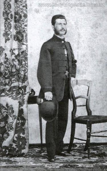 František Xaver Bakeš (4. 12. 1833 Šaratice – 6. 11. 1917 Brno). Byla to hlava, tenhle otec, ale k synovi se nehlásil. FOTO Encyklopedie města Brna
