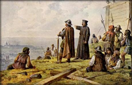 Josef Mathauser - Jan Žižka s knězem Václavem Korandou roku 1420 hledí s Vítkova na Prahu. Repro Wikipedie