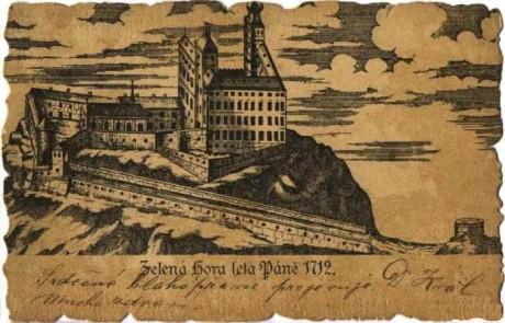 Zámek Zelená Hora v roce 1712. Repro archiv