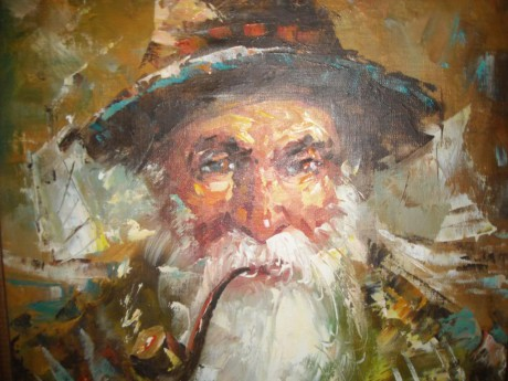 Roy Pierce: Old man and the sea, smoking pipe (olej na plátně). Repro archiv