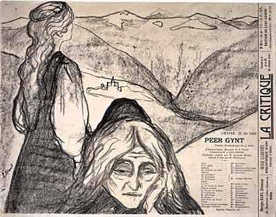 Plakát ke světové premiéře Peer Gynta v Christianii 24. 2. 1876 vytvořil Edward Munch. Repro archiv