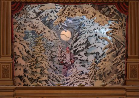Vánoční scéna papírového divadla přelomu 19. a 20. století. Repro archiv