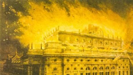 Požár Národního divadla začal 12. srpna 1881 v odpoledních hodinách. Repro archiv