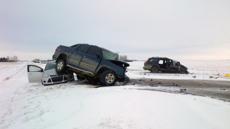 Five people are dead following a multi-vehicle crash north of Regina, Tuesday, Feb. 10, 2015. FOTO White Butte RCMP