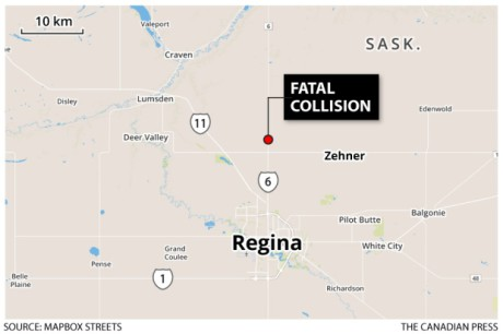 The accident happened around 10 a.m. CST Tuesday, about 15 kilometres north of Regina. Repro Canadian Press/Mapbox Streets