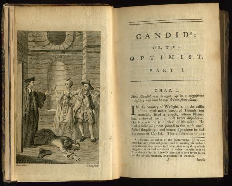 Frontispis a první stránka Kapitoly 1 raného anlgikého vydání Candida v překladu T. Smolletta vydaného Johnem Newberym v roce 1762. Repro archiv
