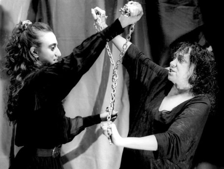 "Ms. Malina, right, with Isha Manna Beck in ""Anarchia,"" at the Living Theater, in the mid-1990s. FOTO MIKE FREY"