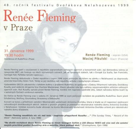 """Program recitálu Renée Fleming v létě 1999 v Praze a předání květin po árii """"Měsíčku na nebi hlubokém…."""" Repro archiv autora"""