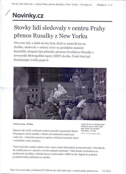 MET live – únor 2014, Praha, náměstí Republiky. Repro archiv autora