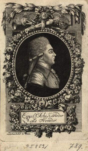 Emanuel Schikaneder (1751-1812), portrét z roku 1788. Repro archiv