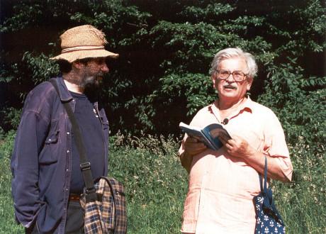 S Břetislavem Rychlíkem v roce 2002 během natáčení cyklu Ilustrovaných fejetonů Ludvíka Vaculíka. FOTO archiv ČT