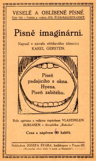Obálka kupletu Písně imaginární, nedatováno