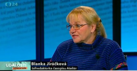 Blanka Jiráčková na ČT24 10. 12. 2012. FOTO archiv ČT