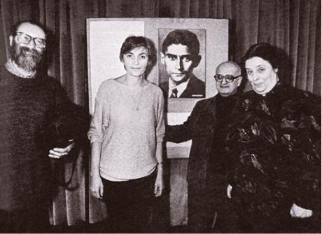 Tvůrci leningradského Procesu: zleva Jaroslav Malina, Lída Engelová, Franz Kafka, Oleg Malevič a Vika Kamenskaja FOTO BOHDAN HOLOMÍČEK