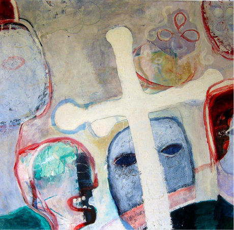 Jaroslav Malina: Cesta do ráje, 1973, kombinovaná technika, plátno, 94 × 94 cm REPRO ARCHIV