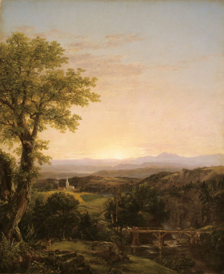 Thomas Cole (American, born England, 1801-1848) - New England Scenery, 1839 (Oil on canvas 57.1 x 46.7 cm.) Repro Art Institute Chicago