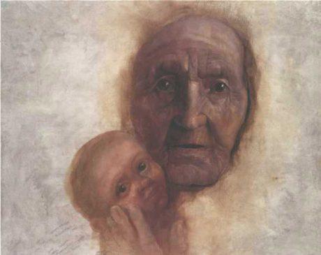 Jiří Anderle: Appasionata Humana (Stařena a dítě), olej na plátně /115 x 140 cm/, 1990. Repro archiv Jiřího Anderleho
