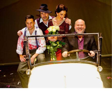 Po premiéře muzikálu Bonnie & Clyde (Martin Písařík, Václav Noid Bárta, Dasha, u volantu Frank Wildhorn) FOTO DAVID KRAUS