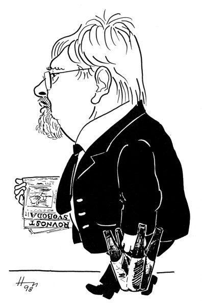 Walletzký Leonard, karikatura Emila Hoffmana. Repro Amatérská scéna č. 3/2007