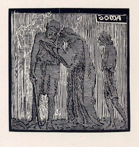 Franrišek Bílek: Doma, linoryt 1920. Repro archiv