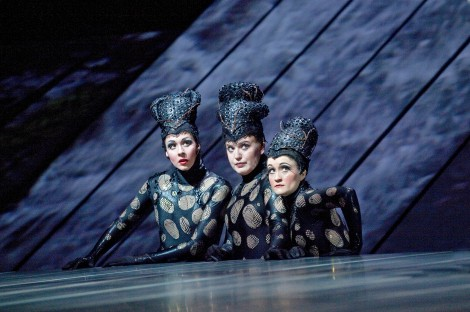 "Tamara Mumford as Flosshilde, Jennifer Johnson Cano as Wellgunde, and Erin Morley as Woglinde in Wagner's ""Götterdämmerung."""